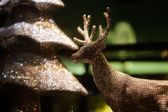 Decorative gold toy Christmas deer. clouse-up Stock Photography