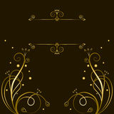 Decorative gold  tracery with frame for text Royalty Free Stock Photos
