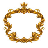 Decorative gold vintage frame isolated on white background, festive label clip art Stock Photo