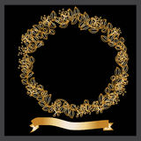 Decorative gold wreath of flowers and leaves Royalty Free Stock Photography
