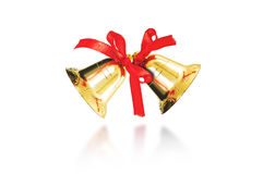 Decorative golden bells for Christmas and New Year, isolated on white background Royalty Free Stock Images