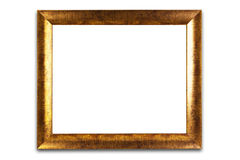 Decorative golden frame isolated on white. Empty interior. Royalty Free Stock Photography