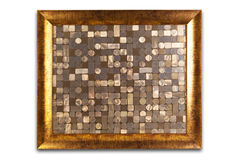 Decorative golden frame isolated on white. Empty interior. Royalty Free Stock Photos