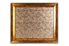 Decorative golden frame isolated on white. Empty interior. Royalty Free Stock Photo