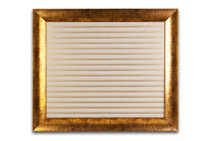 Decorative golden frame isolated on white. Empty interior. Stock Photography