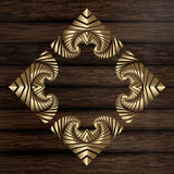 Decorative golden frame on wooden horizontal plank boards Royalty Free Stock Photos