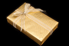 Decorative golden gift box Royalty Free Stock Photos