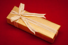 Decorative golden gift box Royalty Free Stock Images