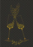 Decorative golden goblets of wine Stock Image