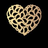 Decorative golden heart Royalty Free Stock Photo