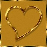 Golden love heart stock photography