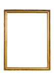 Decorative golden picture frame isolated on white Stock Photos