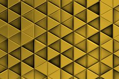 Decorative golden relief with triangles and shadows. Golden Background with ordered triangles forming shadows 3d Stock Photos