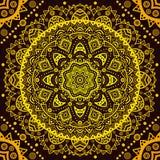 Decorative golden round pattern frame on black Royalty Free Stock Photos