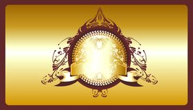 Decorative golden shield. With blank banner,award design Royalty Free Stock Photography