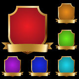 Decorative golden shields Royalty Free Stock Images