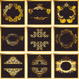 Decorative Golden Vector Ornate Quad Frames Stock Images