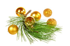 Decorative golden yellow round ball ornaments with pine Stock Photo