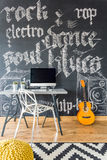 Decorative graffiti in teenage room. Decorative graffiti on chalkboard wall in teenage room Royalty Free Stock Photography