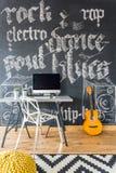 Decorative graffiti in teenage room Royalty Free Stock Photography