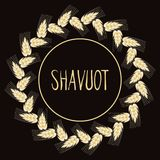 Decorative grain ears to create design compositions. The Jewish holiday of Shavuot. Symbols of the harvest and. Template in a minimalist style to create labels Stock Photo