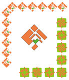Decorative graphic borders. Orange and green borders, corners, frames and decorative elements Stock Image