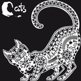 Decorative graphic image, a cat on black background. Decorative graphic image, a cat and mouse stock image