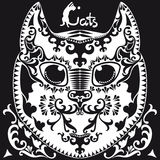 Decorative graphic image, a head cat ornamental Royalty Free Stock Images