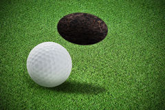 Decorative grass and golf ball Stock Photography