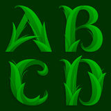 Decorative Grass Initial Letters A, B, C, D. Stock Photography