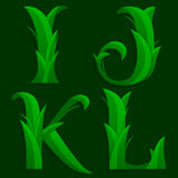 Decorative Grass Initial Letters I, J, K, L. Stock Photo