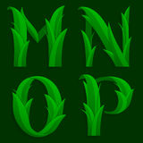 Decorative Grass Initial Letters M, N, O, P. Stock Photos