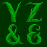 Decorative Grass Initial Letters Y, Z, &. Stock Photo