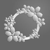 Decorative gray papercut border with white paper flowers. 3D pap. Er composition in grayscale. Vector EPS 10 Stock Photo