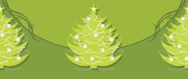 Decorative green border with Christmas fir tree Stock Photos