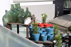 Decorative green bottles. Decorative bottles of green glass and ceramic pots for plants Stock Images