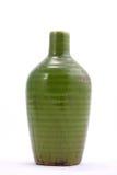 Decorative green ceramic vase isolated on white Stock Photography