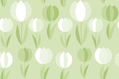 Decorative green color tulip flower seamless pattern. Royalty Free Stock Images