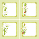 Decorative green frames with spring flowers and butterflies Stock Photo