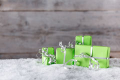 Decorative green gift box Stock Images