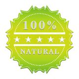 100 percent natural label. Decorative green label 100 percent natural with stars stock illustration