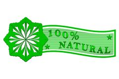 100 percent natural label. Decorative green label 100 percent natural with stars Stock Images