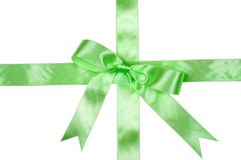 Decorative green ribbon Stock Photos