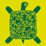 Decorative green turtle with ornament on a yellow background Royalty Free Stock Photography