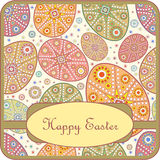 Decorative greeting card with easter egg. Vector illustration Stock Images