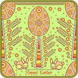 Decorative greeting card with easter egg. Vector illustration Stock Photos