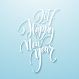 Decorative Greeting Card with handdrawn lettering Handwritten white phrase Happy New Year 2017 on blue background. Vector illustration EPS10 royalty free illustration