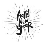 Decorative Greeting Card with handdrawn lettering. Modern ink calligraphy. Handwritten black phrase Happy New Year with rays isolated on white background Royalty Free Stock Photo