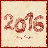 Decorative greeting card. Happy New Year 2016.  Hand drawn inscription. Vector illustration. Decorative greeting card. Happy New Year 2016.  Hand drawn Royalty Free Stock Photos