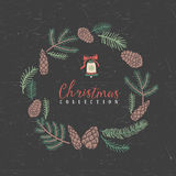 Decorative greeting christmas wreath with bell. Decorative greeting wreath with bell. Christmas collection. Hand drawn illustration. Design elements Royalty Free Stock Photo